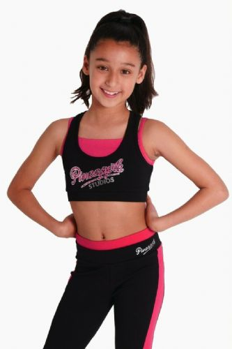 PINEAPPLE DANCEWEAR Girls Racerback Double Crop Top Berry Red Black Dance Gym